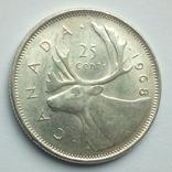 Канада 25 центов 1968 г. серебро, фото №6