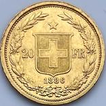 20 франков. 1886. Гельветика. Швейцария (золото 900, вес 6,47 г), фото №5