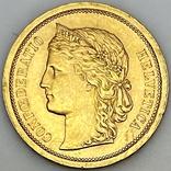 20 франков. 1886. Гельветика. Швейцария (золото 900, вес 6,47 г), фото №6