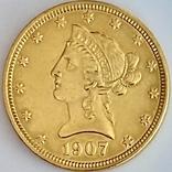 10 долларов. 1907. США (золото 900, вес 16,70 г), фото №2