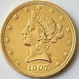 10 долларов. 1907. США (золото 900, вес 16,70 г), фото №4