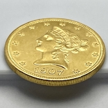 10 долларов. 1907. США (золото 900, вес 16,70 г), фото №8