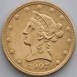 10 долларов. 1907. США (золото 900, вес 16,70 г), фото №12