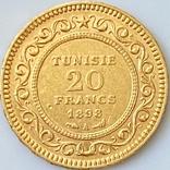 20 франков. 1898. Тунис (золото 900, вес 6,44 г), фото №2