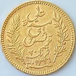 20 франков. 1898. Тунис (золото 900, вес 6,44 г), фото №3