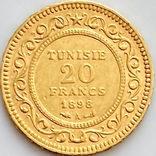 20 франков. 1898. Тунис (золото 900, вес 6,44 г), фото №6