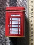 Жестяная коробка из-под чая в виде англ. телефонной будки, фото №2