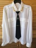 Генеральская шелковая рубашка с вышивкой, индпошив, с галстуком с вышивкой, фото №2
