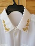 Генеральская шелковая рубашка с вышивкой, индпошив, с галстуком с вышивкой, фото №5