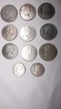 5 долларов1976,1989 ;1 доллар 1962,1964,1965,1966,1967,1972,1976;50центов 1951,1964 (11шт), фото №3