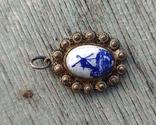 Кулон Голландия, серебро, подглазурная роспись кобальтом., фото №4