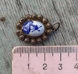 Кулон Голландия, серебро, подглазурная роспись кобальтом., фото №7