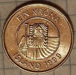 Исландия 1 крона 1999, фото №3
