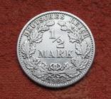 1/2 марки 1908 г. (G) Германия, серебро, фото №2