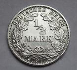 1/2 марки 1917 г. (J) Германия, серебро, фото №4