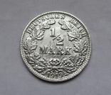 1/2 марки 1919 г. (F) Германия, серебро, фото №2