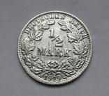 1/2 марки 1919 г. (F) Германия, серебро, фото №4