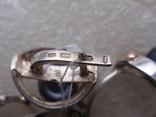 Новый набор серьги-кольцо. Серебро 925, золото, черный жемчуг. Размер 19, фото №5