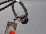 Новый набор серьги-кольцо. Серебро 925, золото, черный жемчуг. Размер 19, фото №8