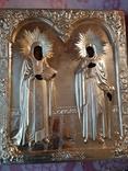 Икона Максим и Миланья, огненное золочение 36 х 31 см. 84 проба,, фото №2