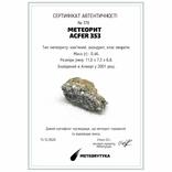 Кам'яний метеорит, ахондрит Acfer 353, 0.46 г., із сертифікатом автентичності, фото №3