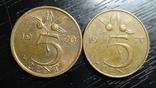 5 центів Нідерланди 1970 (два різновиди) рік ближче/далі від номіналу, фото №2