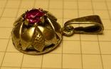 Объёмный кулон с красным камнем серебро 900 проба . Клеймо., фото №3