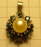 Кулон с голубыми камнями и жемчужиной 925 проба серебро., фото №2