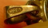 Кулон с голубыми камнями и жемчужиной 925 проба серебро., фото №7
