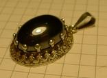 Старый немецкий кулон 835 проба с чёрным камнем., фото №5