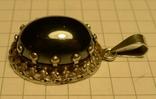 Старый немецкий кулон 835 проба с чёрным камнем., фото №6