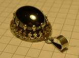 Старый немецкий кулон 835 проба с чёрным камнем., фото №10