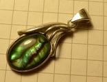 Кулон ручной работы 925 пробы с зелёным камнем. Клеймо., фото №2