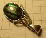 Кулон ручной работы 925 пробы с зелёным камнем. Клеймо., фото №4