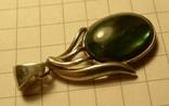 Кулон ручной работы 925 пробы с зелёным камнем. Клеймо., фото №5