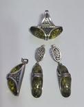 Серебряный набор с зеленым янтарем, фото №2