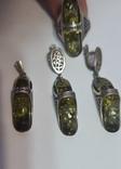 Серебряный набор с зеленым янтарем, фото №3
