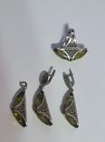 Серебряный набор с зеленым янтарем, фото №4