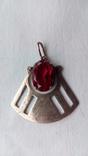 2601 кулон подвеска ссср серебро 875 позолота большой камень в центре, фото №2