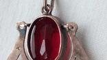 2601 кулон подвеска ссср серебро 875 позолота большой камень в центре, фото №8