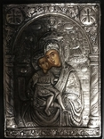 Страстная икона Божией Матери в серебряном окладе (950 проба), фото №2