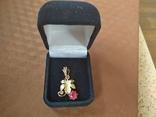 Кулон золото 583 пр.с камнями 1,87 гр.в коробке, фото №2