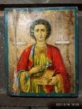 Икона Пантелеймона, левкас, остатки позолоты, печать монастыря, фото №2
