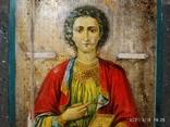 Икона Пантелеймона, левкас, остатки позолоты, печать монастыря, фото №4
