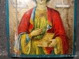 Икона Пантелеймона, левкас, остатки позолоты, печать монастыря, фото №5