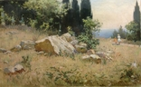 Старая картина Крымский пейзаж-Июль 1966 г. Калмыков Ф. Б.(1932-1967), фото №3