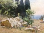 Старая картина Крымский пейзаж-Июль 1966 г. Калмыков Ф. Б.(1932-1967), фото №5
