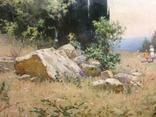 Старая картина Крымский пейзаж-Июль 1966 г. Калмыков Ф. Б.(1932-1967), фото №6