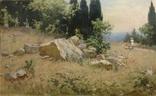 Старая картина Крымский пейзаж-Июль 1966 г. Калмыков Ф. Б.(1932-1967), фото №7