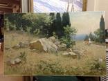 Старая картина Крымский пейзаж-Июль 1966 г. Калмыков Ф. Б.(1932-1967), фото №2